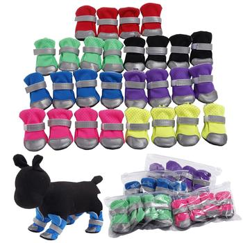 4Pcs Reflective Dog Puppy Shoes Pomeranian Teddy Bichon Soft-soled Pet Boots image