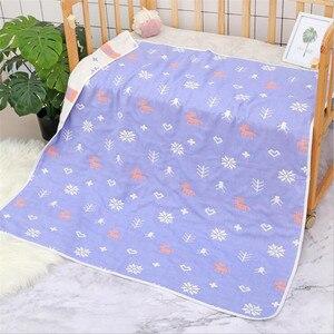 Image 4 - Cobertor do bebê 110x110 cm musselina algodão 6 camadas grosso recém nascido swaddling outono bebê swaddle cama dos desenhos animados recebendo cobertor
