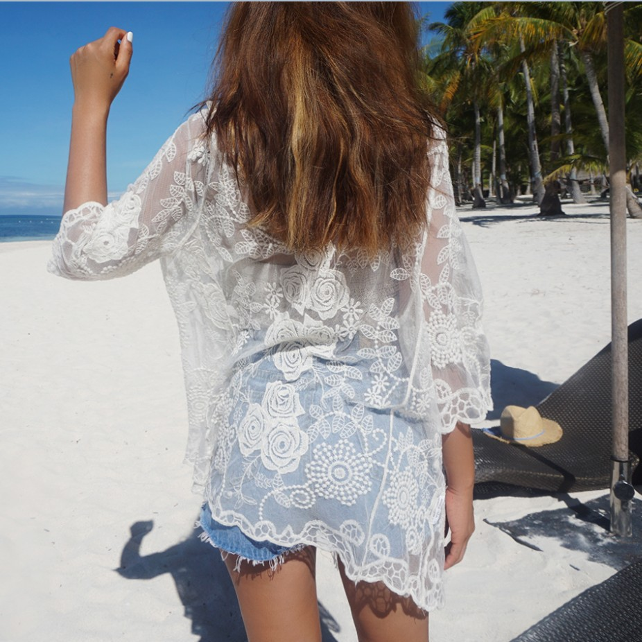 Beach Holiday Bikini Bathing Suit Outer Blouse Lace Hollow Out Hot Springs Cardigan Long-sleeved Coat Seaside Sun-resistant