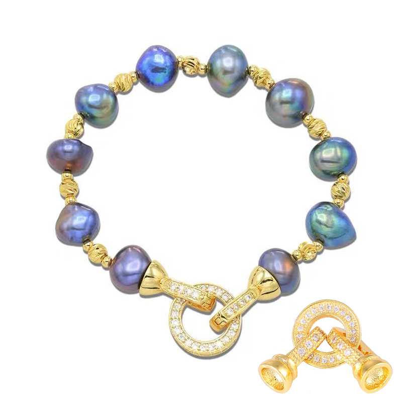 Magnetic Clasp Round Bead Micro Pave Pearl Necklace Bracelet Chain Buckle  AL