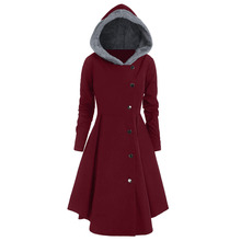 ROSEGAL Plus Size Asymmetric Contrast Hooded Skirted Coat Hoodie Single Breasted Women thin Gothic Coats Solid 2019 Autumn