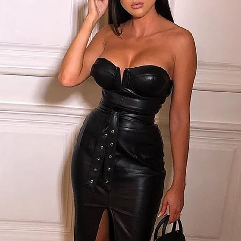 Sexy Dress PVC Faux Leather Club Dress Bandage Long Dresses Women Black Clubwear Lace Up Wet Look Clubwear Wholesale image