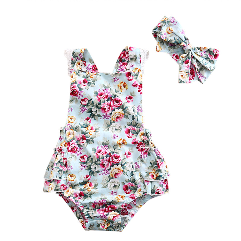 0-24M Newborn Kid Baby Girl Clothes Floral Outfits Set Lace Jumpsuit Romper Bodysuit For Baby Girls