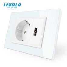 Livolo اثنين عصابة الاتحاد الأوروبي المقبس و مقبس USB ، الأبيض كريستال زجاج لوحة ، التيار المتناوب 110 ~ 250 فولت 16A جدار مقبس الطاقة ، VL C9C1EU1U 11