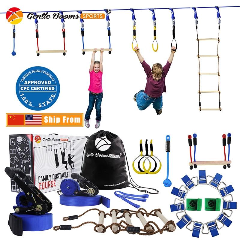 Ninja Line Hanging Obstacle Course Equipment Kit for Kids 15m Slackline Children Garden Games Outdoor Playground Sports Toys