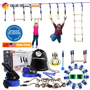 Ninja Warrior Rope Hanging Obstacle Course Set for Kids Slackline Outdoor Playground Sports Toys Training Equipment Family Play
