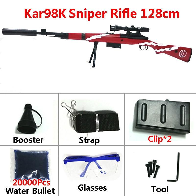 New Outdoor Sniper Rifle Toy Guns Weapon 98K 128cm Safety Water Bullet Games Shoot Silencer Air Soft Gun Arms