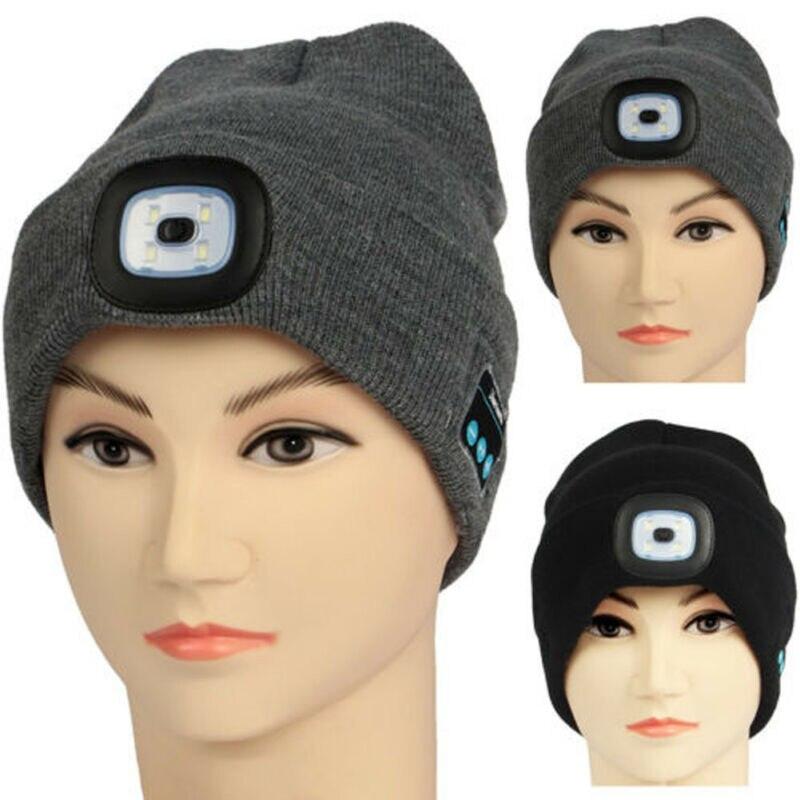 Зимняя шапка Беспроводной Bluetooth5.0 Smart кепки наушники гарнитура с 4 светодиодный светильник, хенд фри, музыкальные наушники теплый вязаный