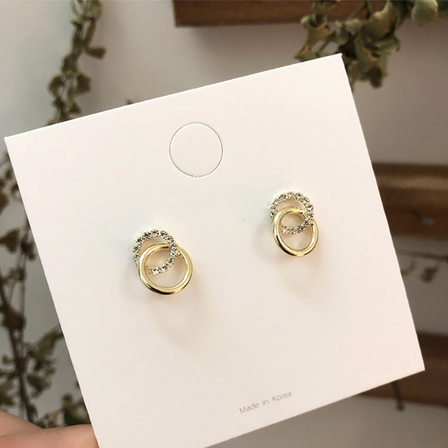 2020 Korean Simple Double Circle Gold Color Metal Rhinestone Drop Earrings For Women Fashion Small Pendientes Jewelry Gifts 2
