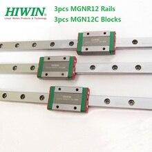 3pcs  Original Hiwin rail MGNR12 -L 100mm/200mm/300mm/400mm/500mm/600mm + 3pcs MGN12C  blocks for CNC