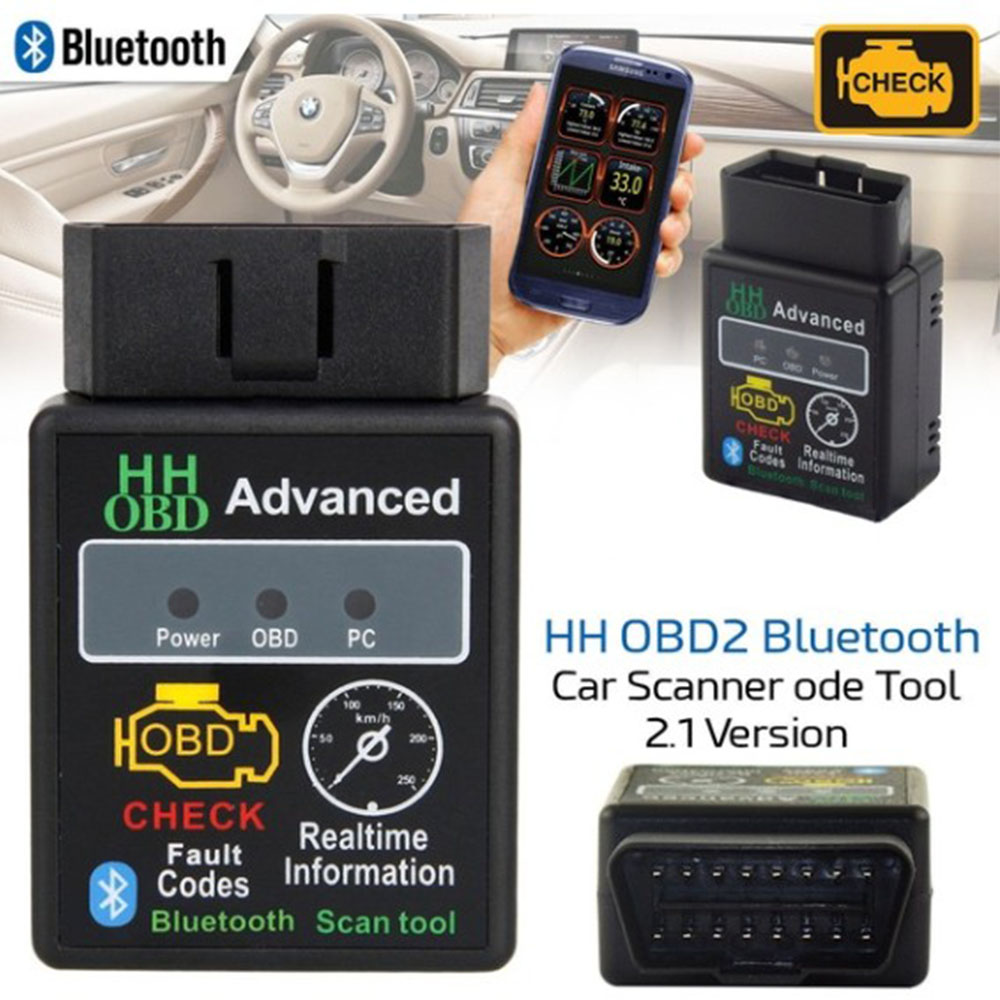 ELM327 Car For Scanner Bluetooth Scan OBDII Auto Diagnostic Wish Torque Android HTX OBD2 II  Automobile Fault Detector