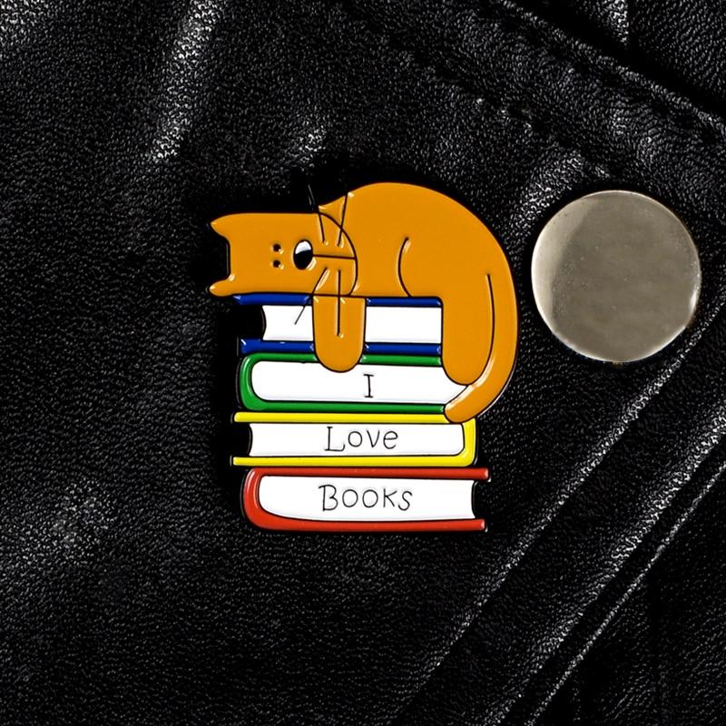 Bookworm Enamel pin I Love Books Funny Cat Reader Brooch Cartoon Animal Book Lovers Custom Lapel Pin Badge Jewelry Wholesale(China)