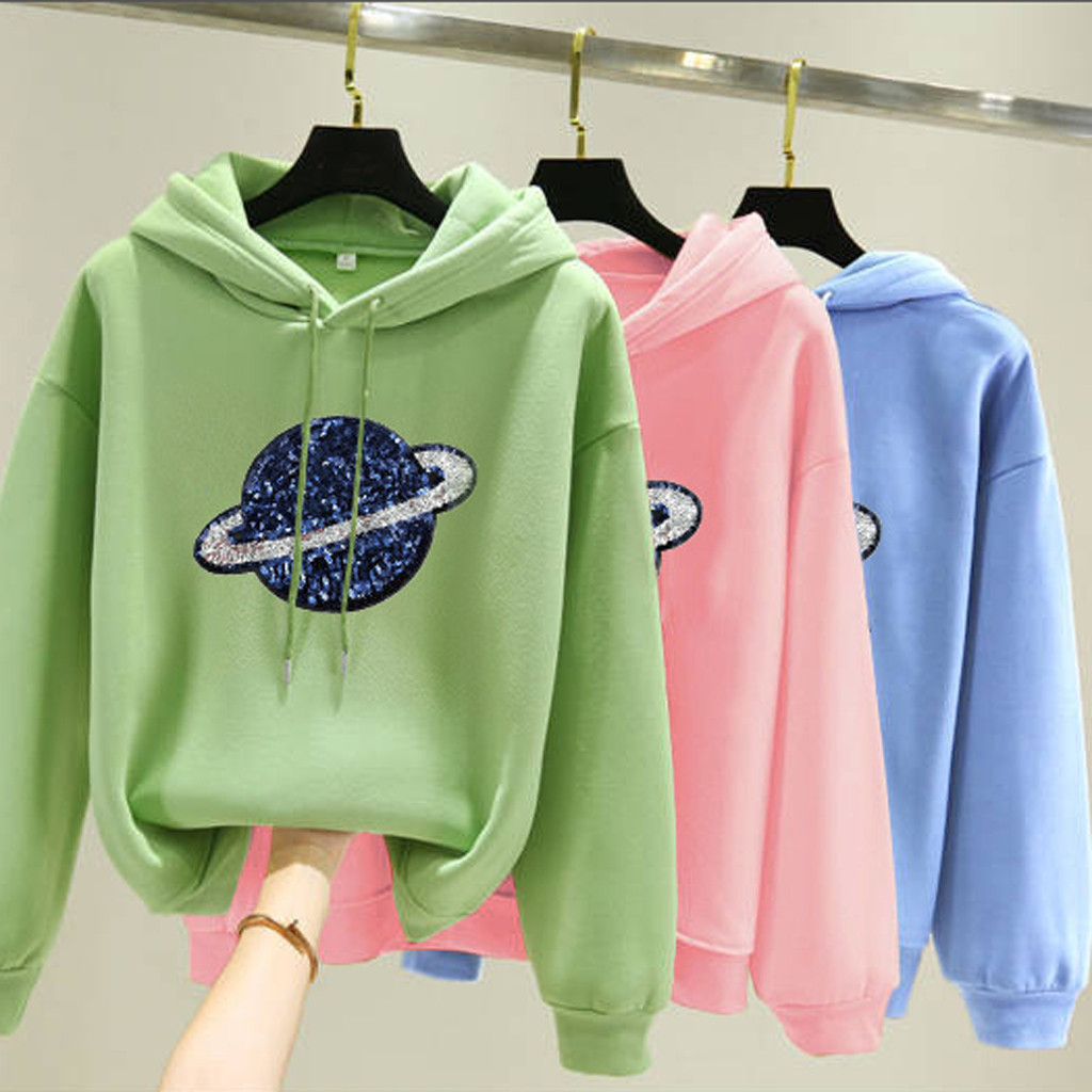 Women Hoodies Casual Kpop Plante Solid Loose Drawstring Sweatshirt Long Sleeve Hooded 2020 Autumn Winter Pullover Female Tops
