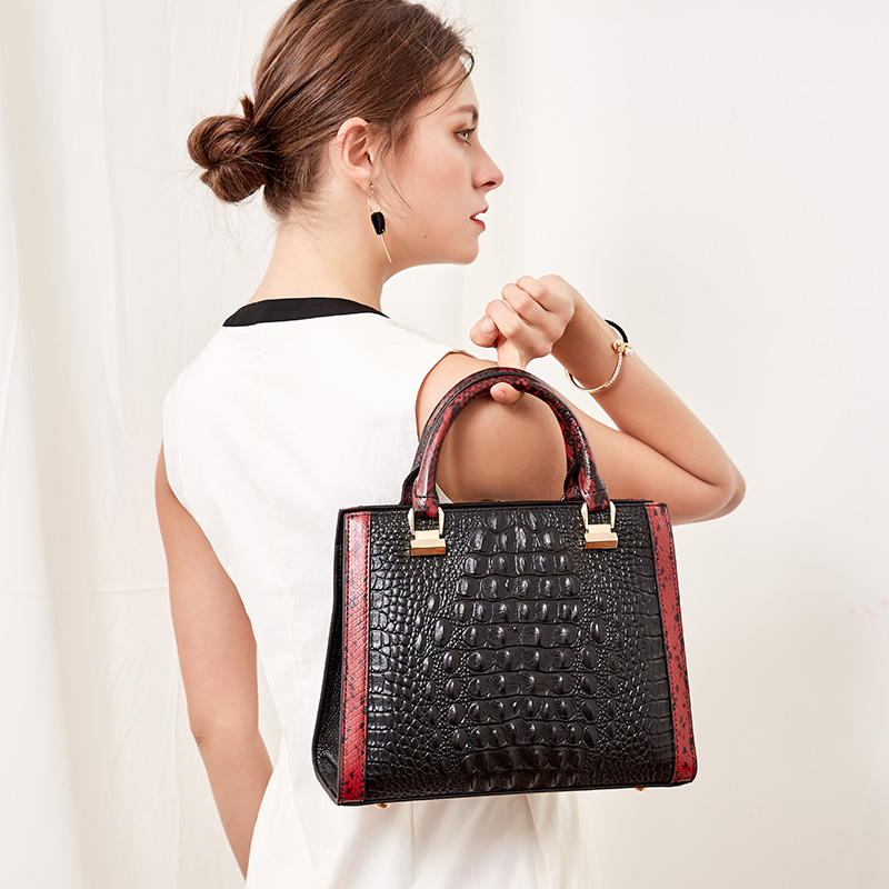 Qiwang Black Leather Handbag 2019 Crocodile Pattern leather Handbag Luxury Brand Designer Shoulder Bags for Richer