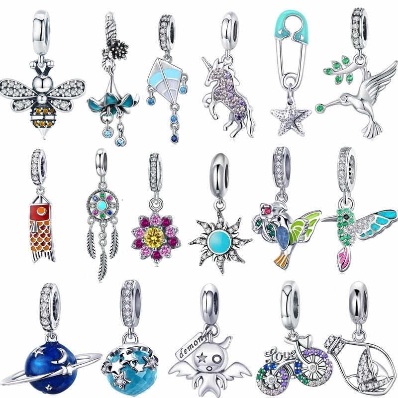 fit Pandora Bracelet Silver Original 925 Cute Zircon Parrot Kingfisher Charms CZ Unicorn Anchor Bicycle Beads for Jewelry Making