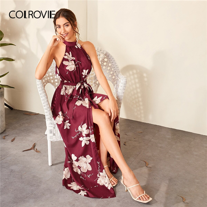 COLROVIE Burgundy Floral Print Wrap Hem Belted Halter Dress Women High Waist Maxi Dress 2020 Spring Summer A Line Boho Dresses