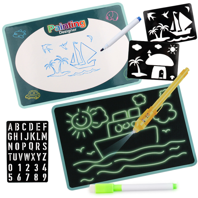 Two-in-One Dual Purpose Children 3D Wipable Fluorescent This Drawing Board Shining Graffiti Magical Writing Board Ye Guang Ban