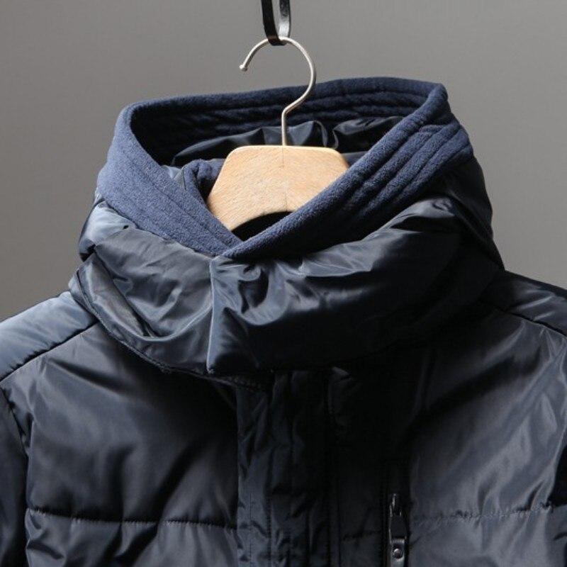 Con cappuccio di Spessore casual Cappotto Del Cotone Degli Uomini di Inverno Slim Caldo Lungo Cappotto in Stile Europeo Per Il Tempo Libero Manica Lunga Chiusura Lampo Della Tuta Sportiva Nera M 3XL - 3