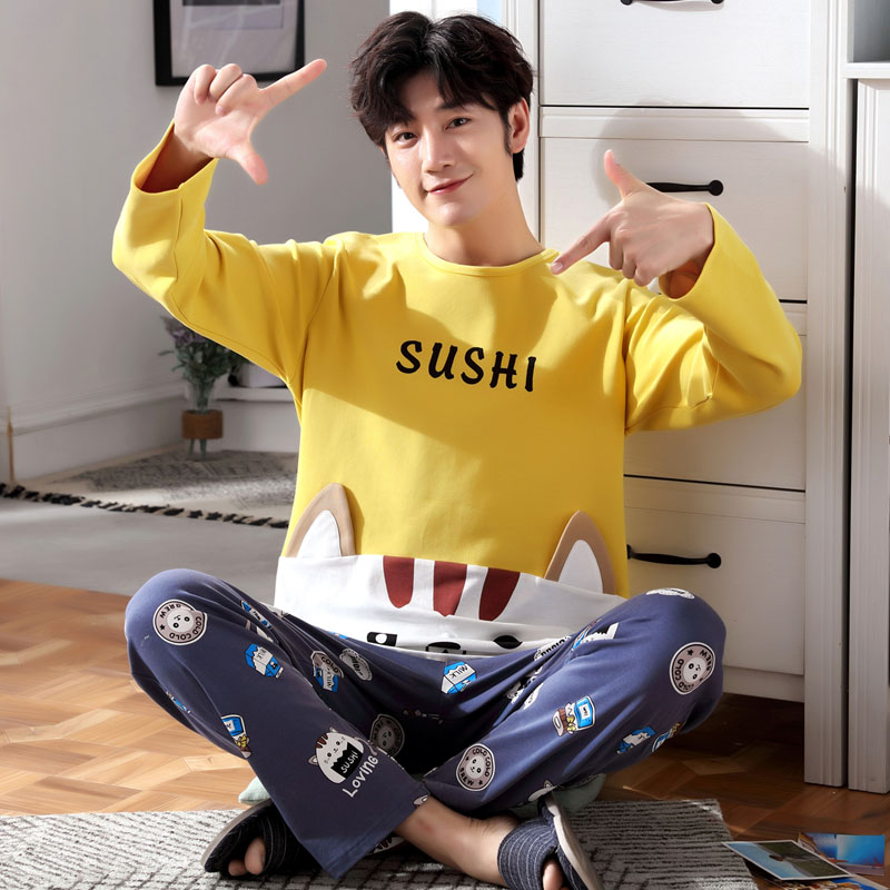 Pajama Men's Autumn Pullover Long Sleeve Cotton Spring And Autumn Leisure Suit Men's Pajamas Autumn And Winter Youth Cotton Home