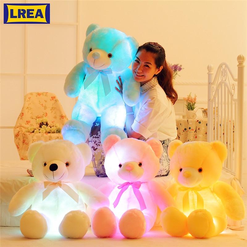 LREA 1pc 50cm Cojines Plush Cartoon Bear Creative Light Up LED For Children As A Toy Or Adults Bedding Sofa Cushions