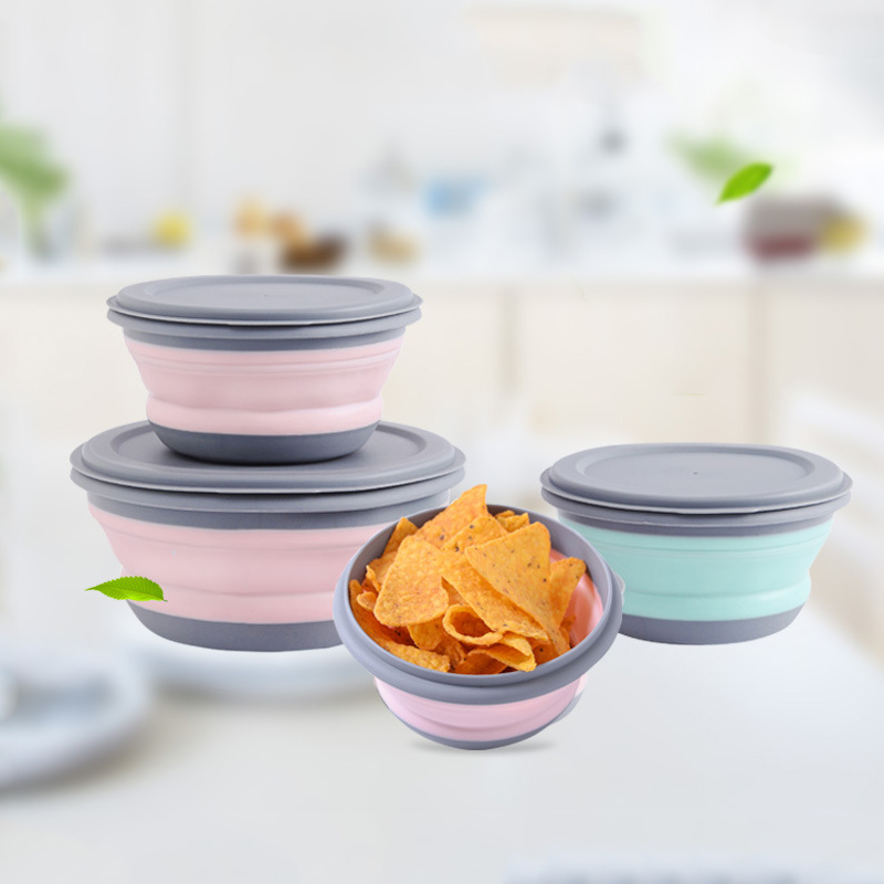 3pcs/set Travel Collapsible Bowl Portable Outdoor Picnic Lunch Box Child Anti-fall Silicone Cup Fruit Snack Organizer Accessorie