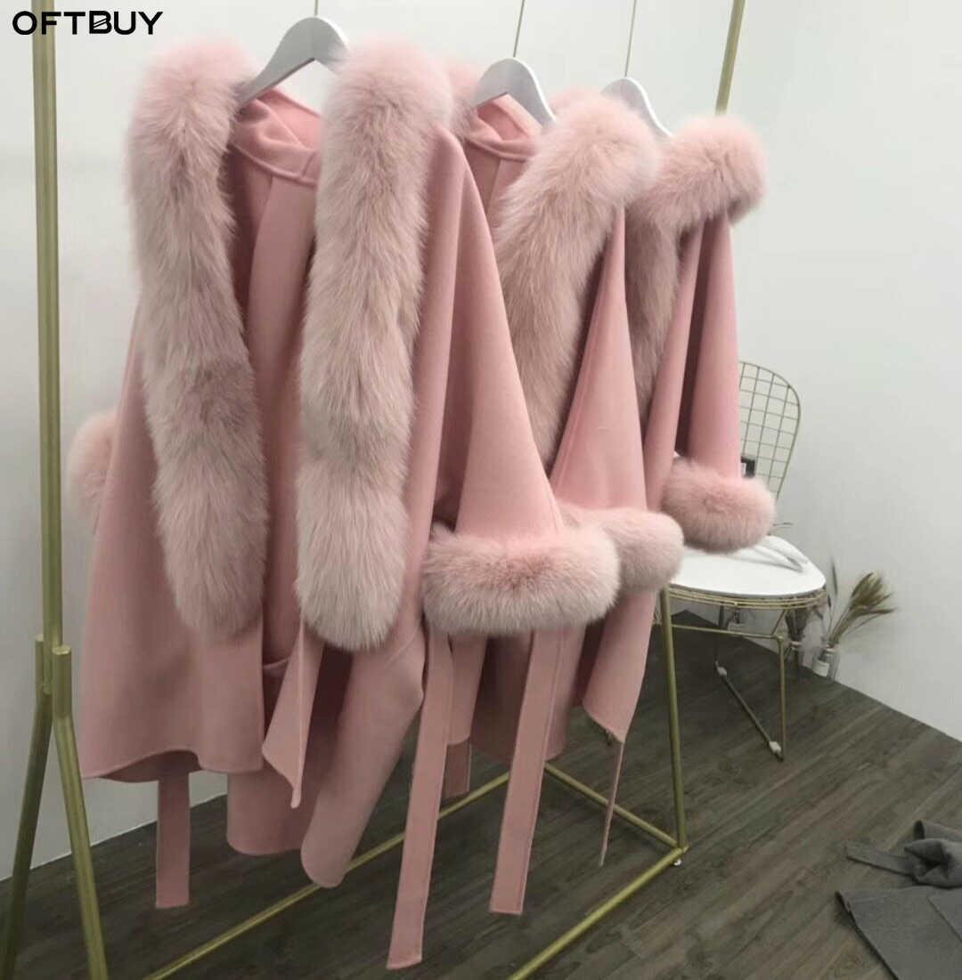 OFTBUY 2020 เสื้อแจ็คเก็ตสตรีฤดูหนาวสุนัขจิ้งจอกธรรมชาติขนสัตว์ผ้าขนสัตว์ชนิดหนึ่งผสม Outerwear ขนสัตว์จริง Streetwear หนาใหม่
