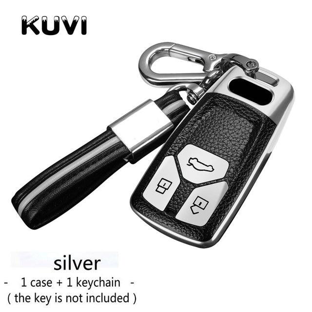 Car Key Fob Chain Cover Case For Audi Q5 Q7 A4 B9 A5 TT S4 S5 SQ5 Blue