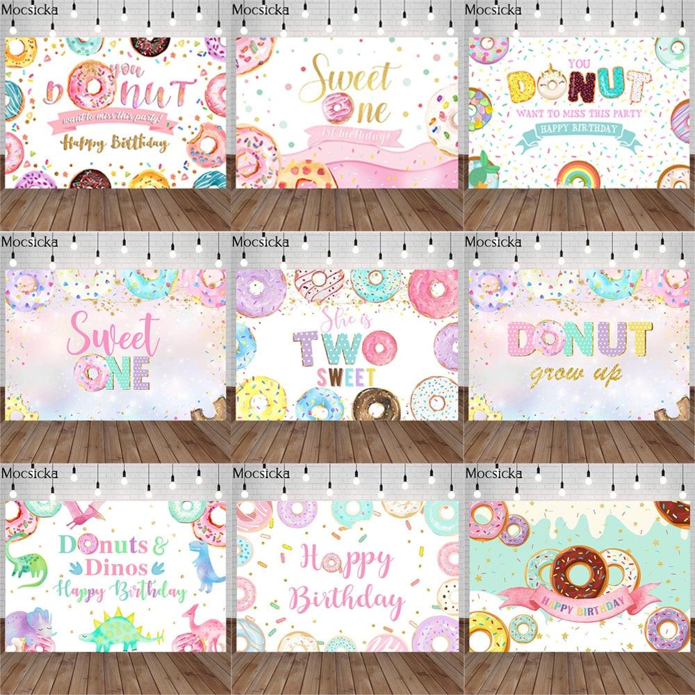 Mocsicka фон для фотосъемки с изображением милых пончиков для новорожденных детей портрет для фотосъемки на день рождения декорация для фотосъ...