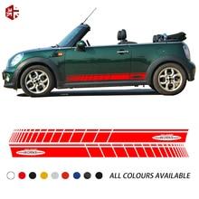 лучшая цена 2 Pcs Racing Stripes Side Skirt Body Graphics Decal John Cooper Works Sticker For MINI CABRIO R57 Cooper S JCW Accessories