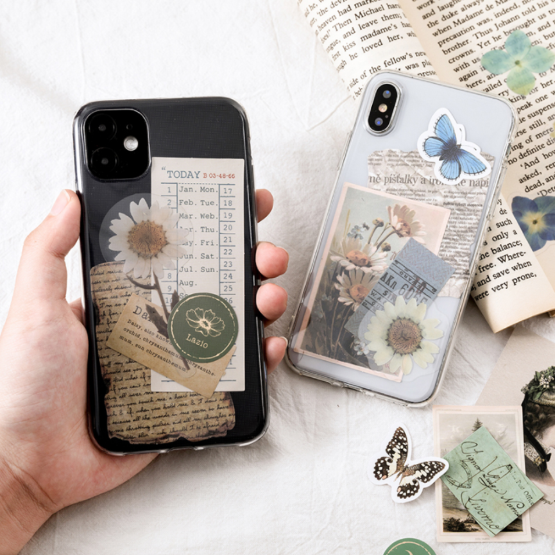 Journamm 15pcs Vintage Sticky for Phone Deco Retro Stationery Supplies Plant Stickers Bullet Journal Scrapbooking Label Stickers 5