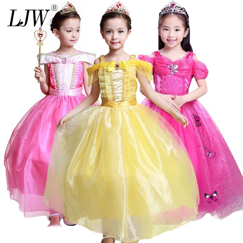Kids Dresses For Girls Cinderella Snow White Cosplay Costume Elsa Aurora Children Princess Party Dresses Kids Christmas Fantasy