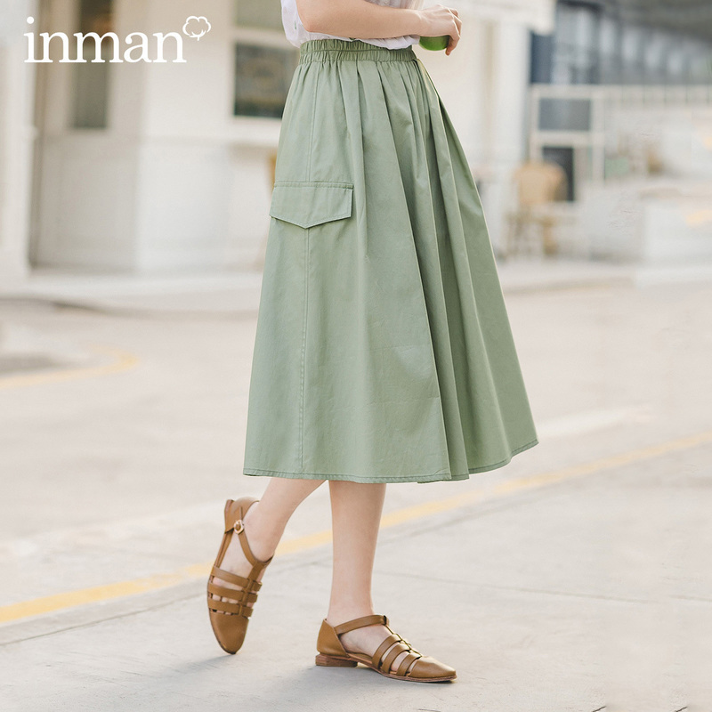 INMAN 2020 Summer New Arriavl Literary Commuting Pure Cotton All-match Frock Style Skirt