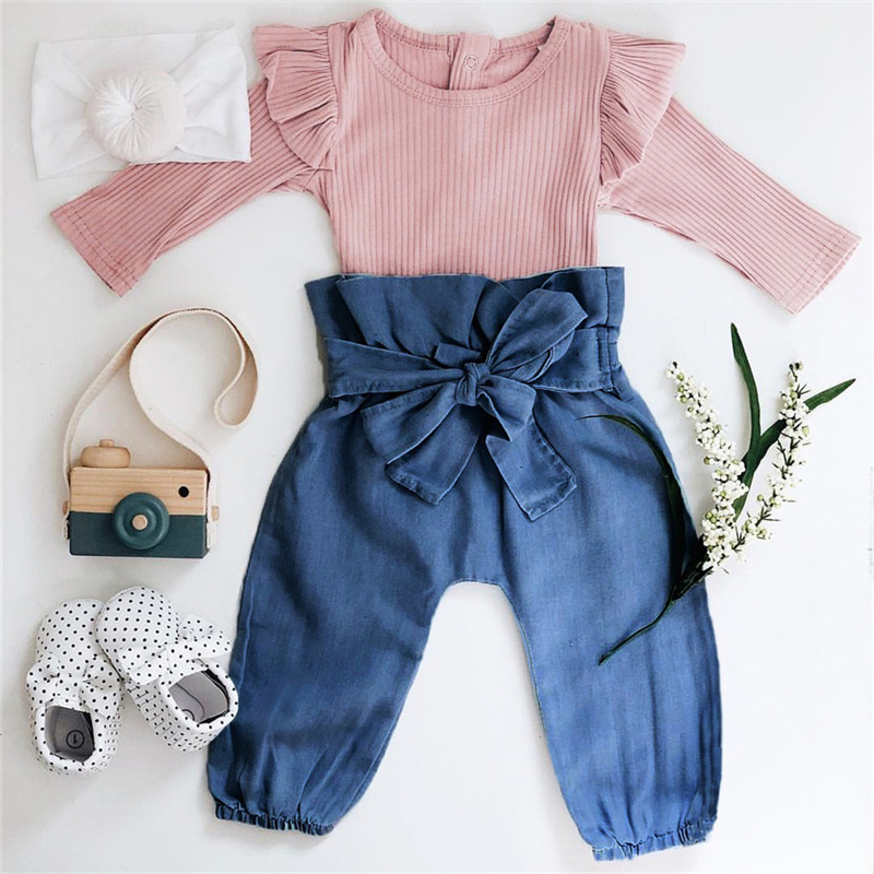 Baby Girl Clothes 2019 autumn Winter Cotton Soft Newborn Infant Baby Girl Jumpsuit Romper Bowknot Pants 2Pcs Outfits Sets