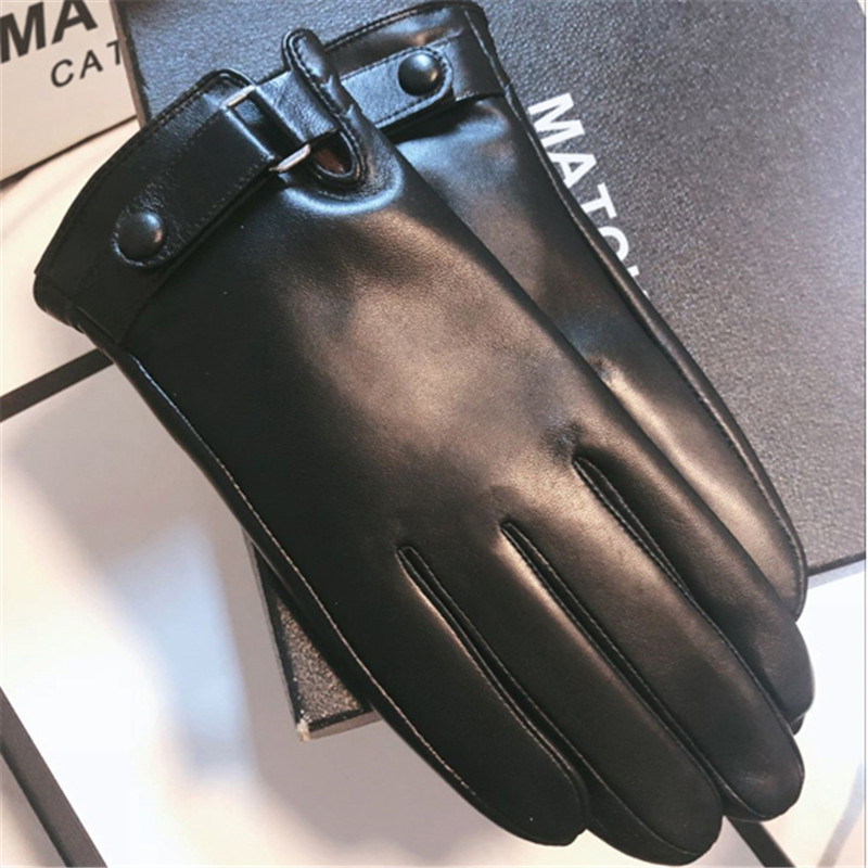 Real Leather Gloves Male Winter Sheepskin Plus Velvet Thicken Thermal Driving Touch Screen Business Casual Men Gloves 8185