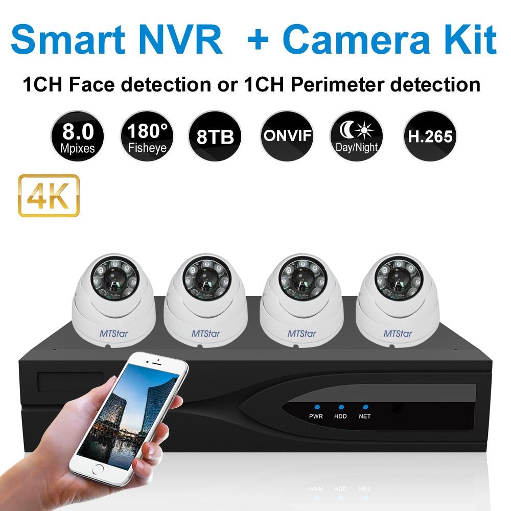 MTStar 4CH Fisheye 4K IP Security Camera NVR System Dome Camera Face Detection NVR Video Surveillance Kit