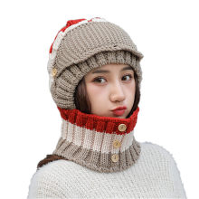 Adult Women Men Winter Earmuffs Knit Hat Facemask Scarf Hairball Warm Cap Wholesale Unisex Face Cover Mascarillas Mouth-muffle(China)