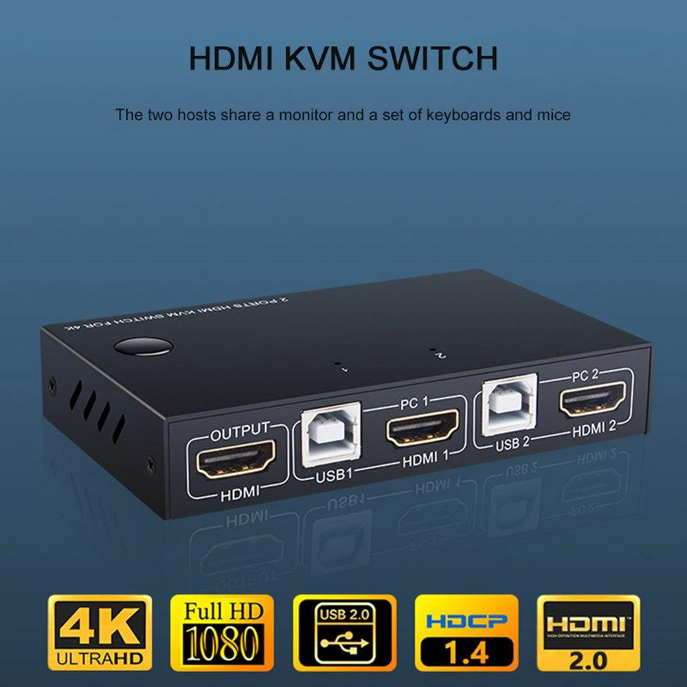 2 порта HDMI USB KVM 4K переключатель сплиттер для обмена монитором клавиатура мышь Адаптивная EDID/HDCP дешифрование