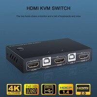 2 Port HDMI USB KVM 4K Switcher Splitter for Sharing Monitor Keyboard Mouse Adaptive EDID/HDCP Decryption
