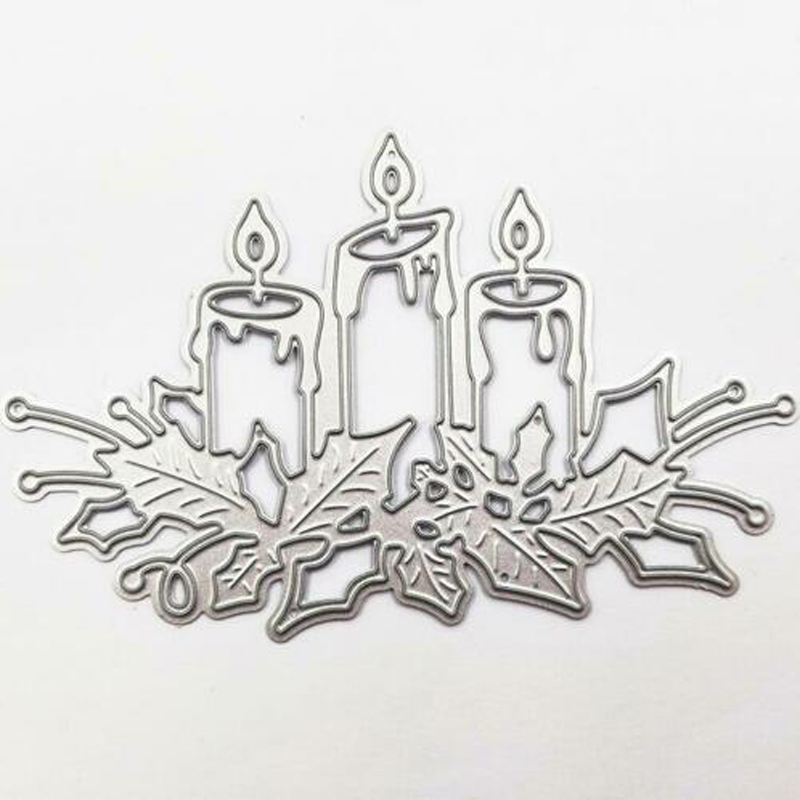 Metal Cutting Dies Christmas Burning Candle Stencils For DIY Embossing Scrapbook Album Paper Card Decoration Craft