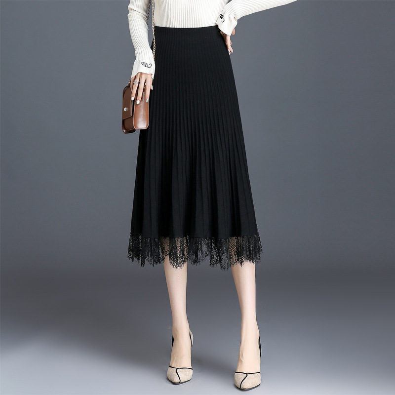 2019 New Style High-waisted Slimming Pleated Skirt Women's Autumn And Winter Yarn Knitted Black And White With Pattern Skirt Wom