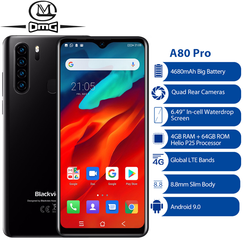Blackview A80 Pro Quad Rear Camera 4GB + <font><b>64GB</b></font> Android 9.0 Octa Core Mobile Phone 6.49