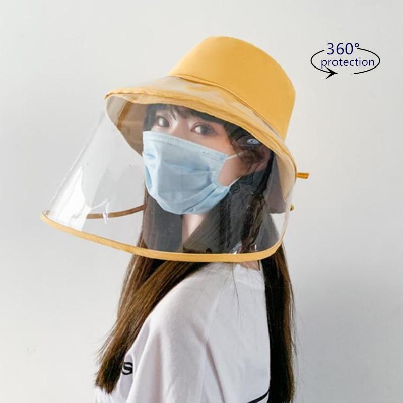 Women Sun Hat Removable Windproof Sand Face Shield Clear Visor Transparent Mask Anti Splash Summer Sun Hat Beach Travel Caps