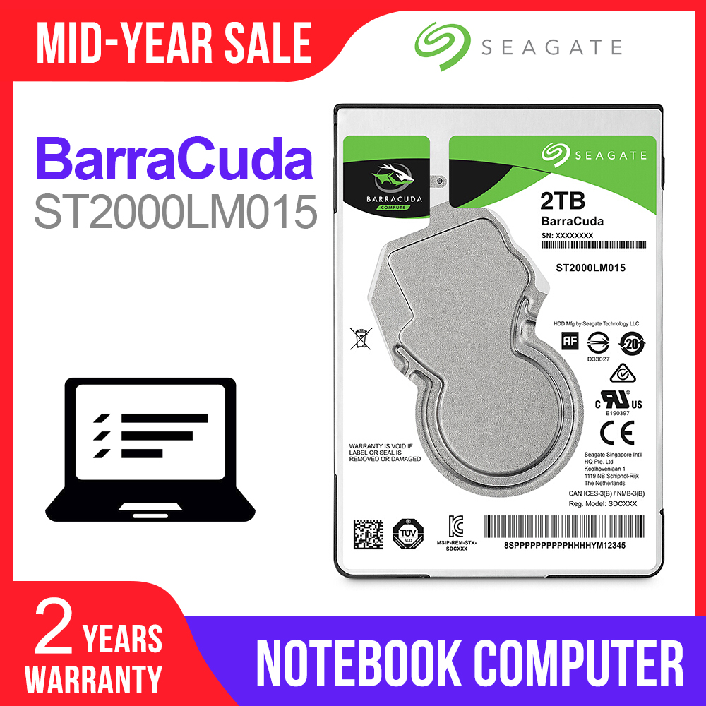 Seagate 2TB 2.5inch Internal HDD Notebook Hard Disk Drive 7mm 5400RPM SATA 6Gb/s 128MB Cache 2.5 HDD For Laptop ST2000LM015
