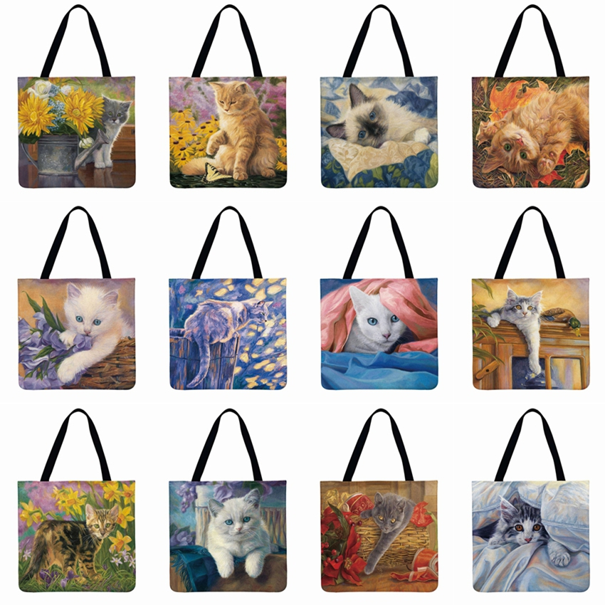 Women Shoulder Bag Lovely Pastoral Cat Printed Tote Bag Linen Febric Casual Tote Foldable Shopping Bag Beachbag Fashion Bags