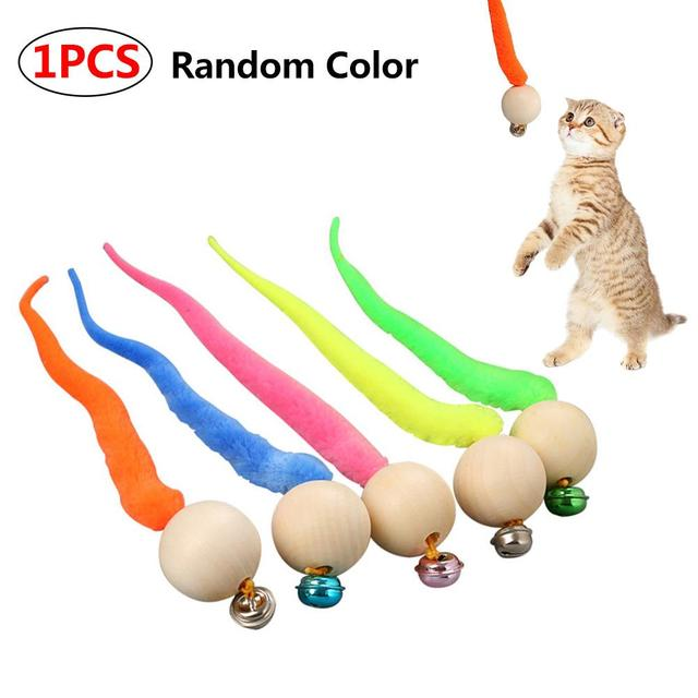 Cat Toy Caterpillar Wooden Ball Cat Ball Toy Kitten Activity Interactive Toy Colored Cat Worms Ball with Bell