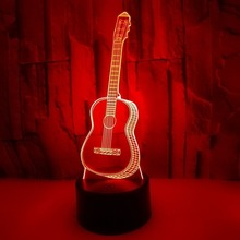 3D Guitar LED Night Light Seven-Color Touch the Light Touch Control Visual Lamp Creative Gifts Atmosphere Small Table Lamp