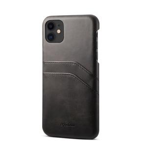 Image 5 - יוקרה בציר עור מפוצל כפולה כרטיס חריץ טלפון נייד מקרה עבור iPhone 7 8 בתוספת X XR XS מקסימום 11 11Pro מקס נייד טלפון חזרה כיסוי