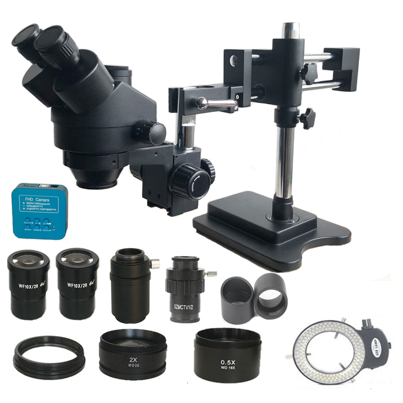 3.5X-90X Double Boom Zoom Simul Focal Trinocular Stereo Microscope 38MP HDMI USB SMD Microscopio Camera Phone PCB Repair Tools