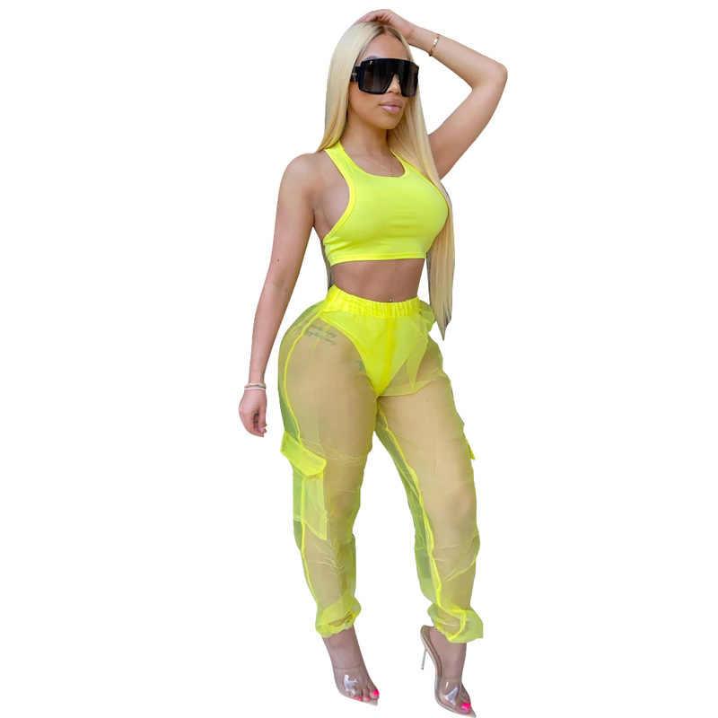 Neon Grün Gelb 2 Stück Outfits Sommer Kleidung Für Frauen Bandage Tank-Crop Top Und Sheer Mesh Perspektive Hosen Schweiß anzüge