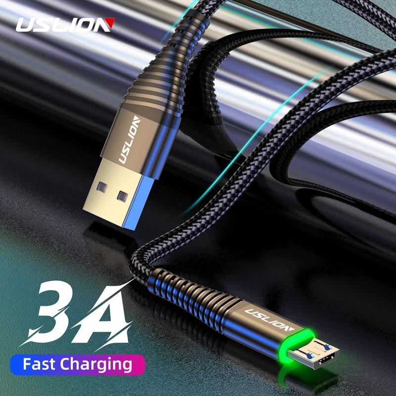 Uslion 3a micro cabo usb 0.5 m/1 m/2 m sincronização de dados fio de carregamento rápido para samsung huawei xiaomi nota tablet android usb telefone cabos